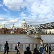 a view of the Millennium Bridge - and steampunks